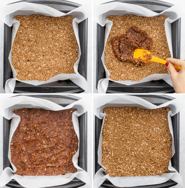 Four shots to show how to assemble the pecan date bars