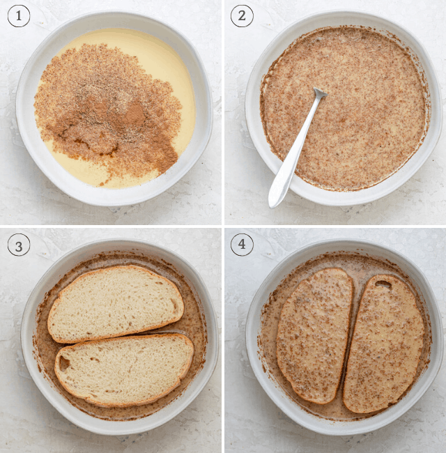 Process shots showing how to make the batter and then dipping the bread inside