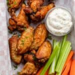 Crispy air fryer chicken wings for game day/super bowl