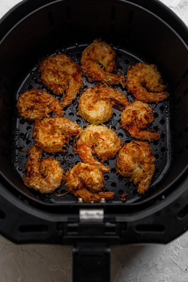 Breaded shrimp in the air fryer after cooking