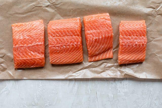 Fresh salmon fillets before seasoning