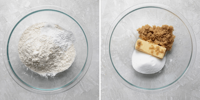 Dry ingredients in one bowl and wet ingredients in another bowl