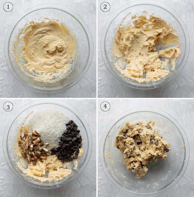 Process shots showing how to mix together the almond joy cookies