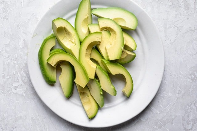 Sliced avocados to use for the recipe