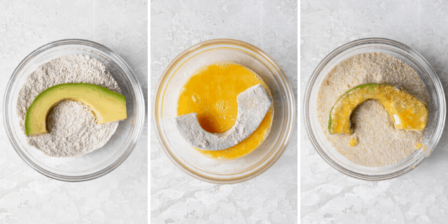 Process shots to show the avocado being dredged into the flour, eggs and then panko