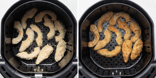 Making avocado fries in the air fryer - showing before and after