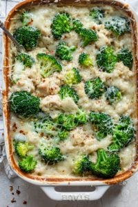 Chicken broccoli casserole in a dish after it's cooked