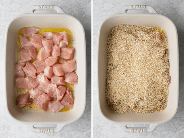 Process shots showing the cubed chicken in the dish and then adding quinoa on top