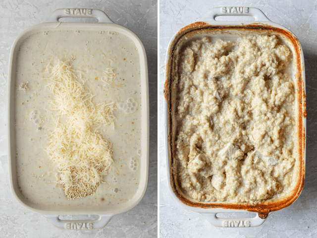 Process shots showing the dish before and after baking