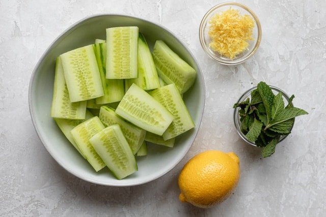 Ingredients to make the recipe: cucumbers, lemon juice, lemon zest, mint leaf