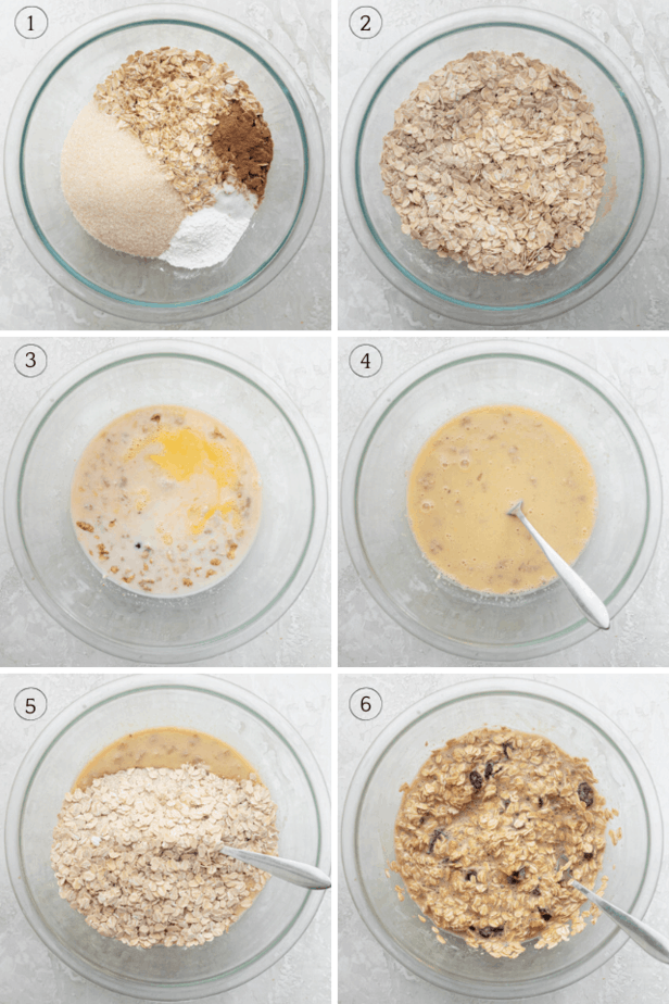Process shots showing how to make the recipe by mixing the dry ingredients, the wet ingredients and then both together