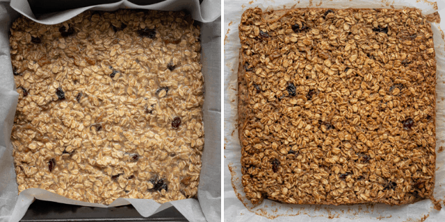 Before and after baking of the recipe