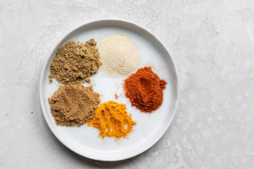 Mix of spices for the recipe: onion powder, paprika, turmeric, cumin and coriander