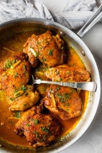 Pan seared chicken thighs made in a skillet