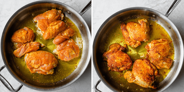 Process shots showing how to cook the chicken on a skillet
