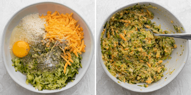 Process shots to show all the ingredients in a bowl before and after mixing