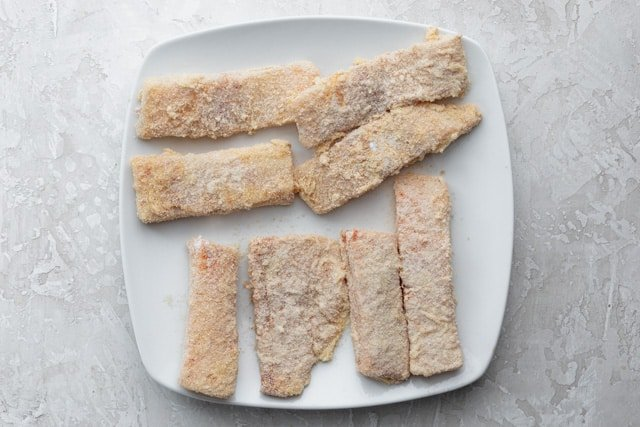 Breaded fish before frying in the air fryer