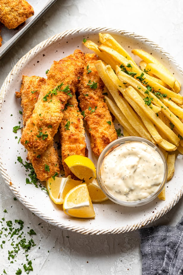 Plate of fish and chips with tartar sauce