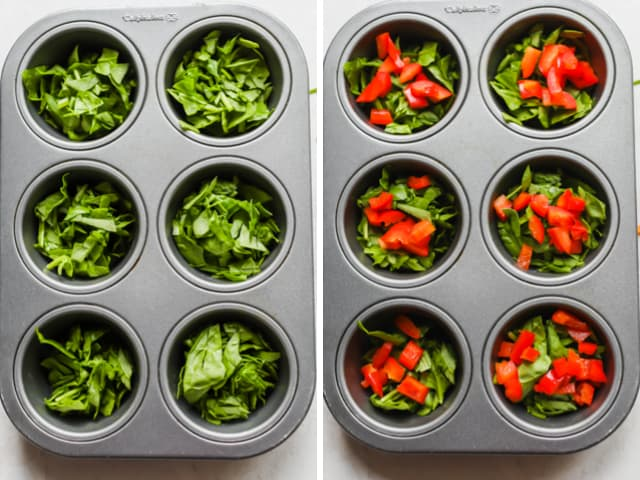 Muffin tins with veggies added to them