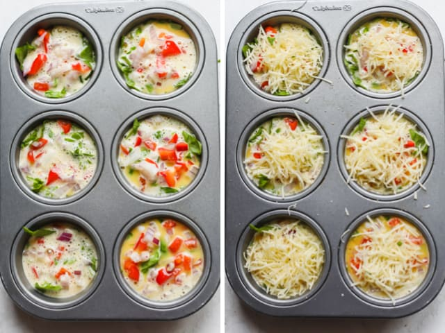 The uncooked breakfast egg cups topped with cheese and ready to bake
