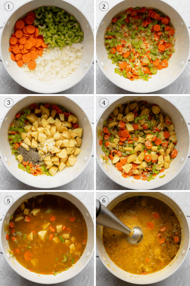 Process shots showing how to make the vegetarian soup step-by-step