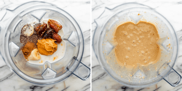 The ingredients before and after blending