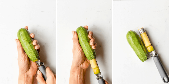 collage of hollowing out squash