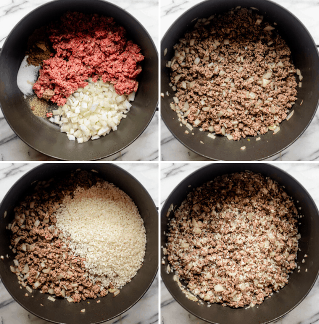 process shots of filling being cooked