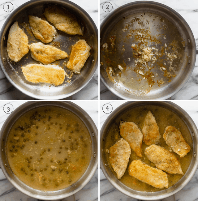Process shots to show the steps in preparing the chicken recipe