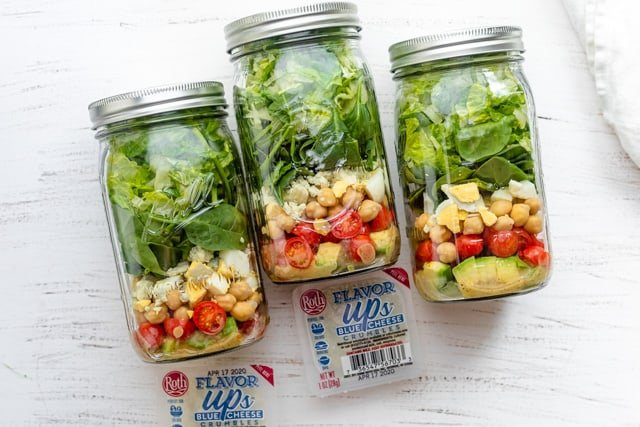 Salad jars to go, along with the small pouches of blue cheese flavor ups