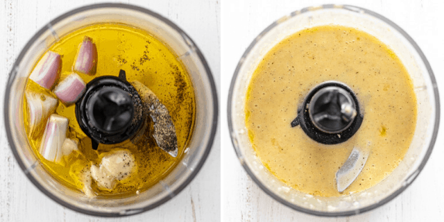 Process shots to show how to make the dressing in a small food processor