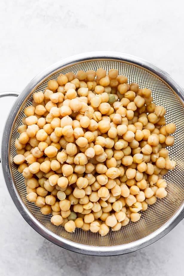 chickpeas in a sieve