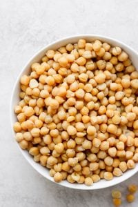 Large bowl of chickpeas after cooking