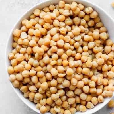 Large bowl of chickpeas after they've been cooked