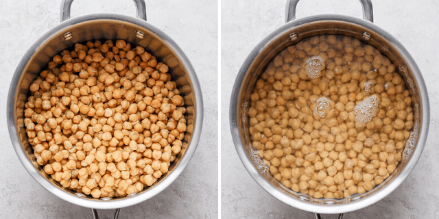 collage of chickpeas cooking in a pot