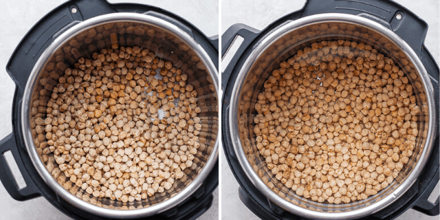 collage of chickpeas in an instant pot