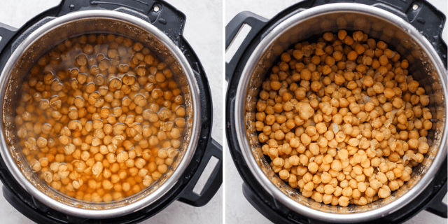 collage of chickpeas cooking in an instant pot