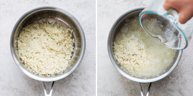 Tutorial for how to cook rice - adding water to the pot