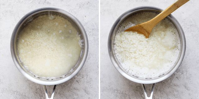 white rice cooking in a pot