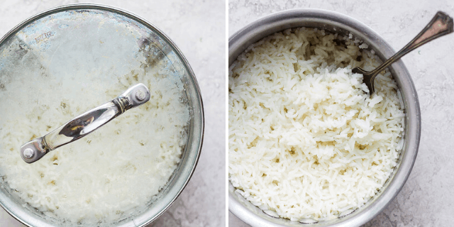 collage of white rice in a pot with and without lid