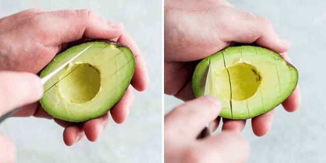 Slicing and scoring into avocado
