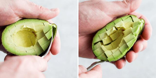 Removing the avocado pieces