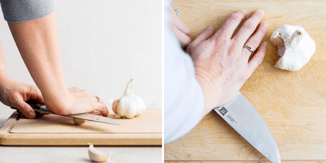 collage of hands with a knife crushing garlic