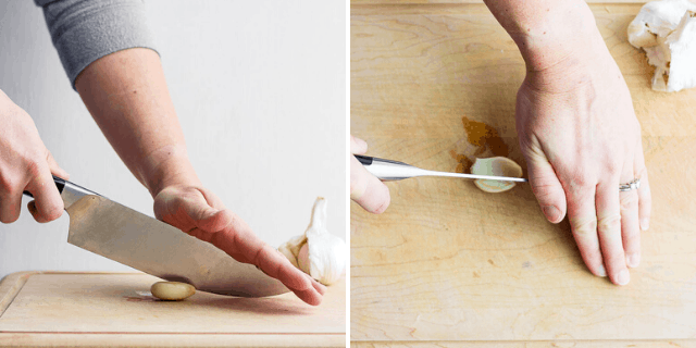 collage of hands and knife cutting a garlic in half