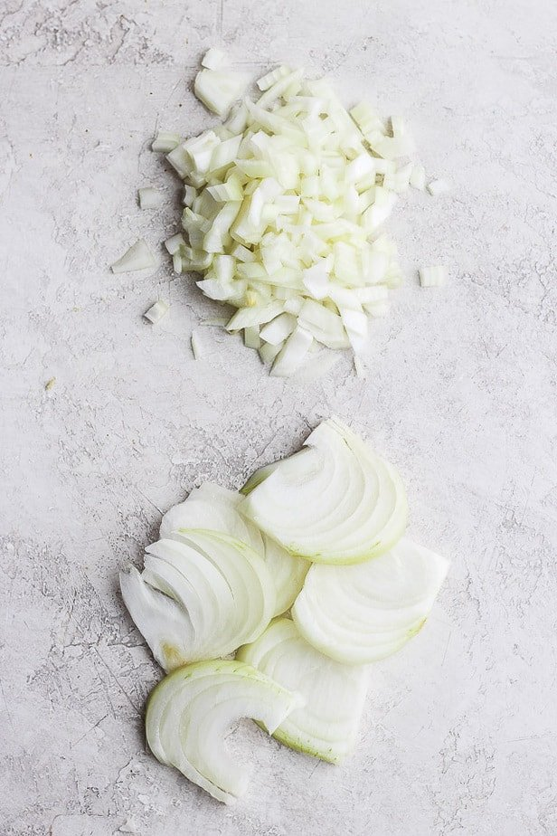 Sliced and chopped onions