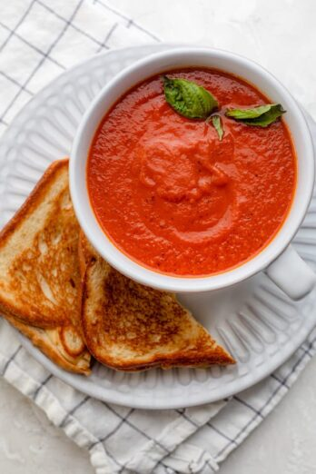 5 ingredient tomato soup with grilled cheese on the side