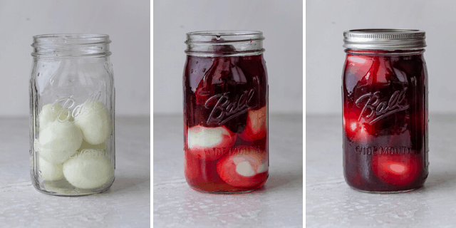 Three photos to show how to pickle the eggs and beets