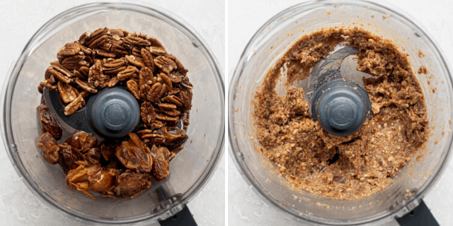 Process shots to show the pecans and dates before an after processing