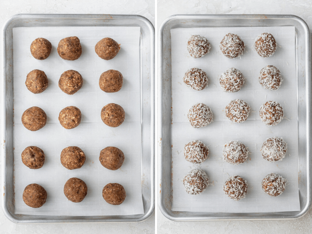 The balls on baking sheet before and after rolling into coconut