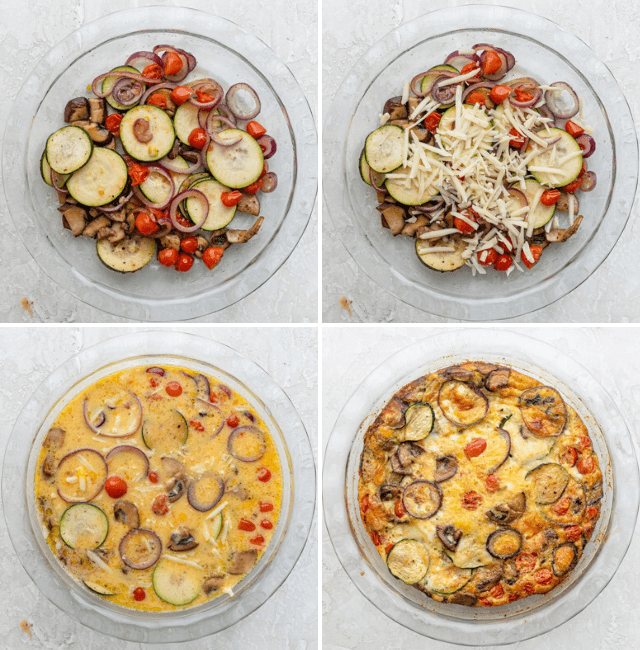 Four photographs to show how to make the crustless quiche